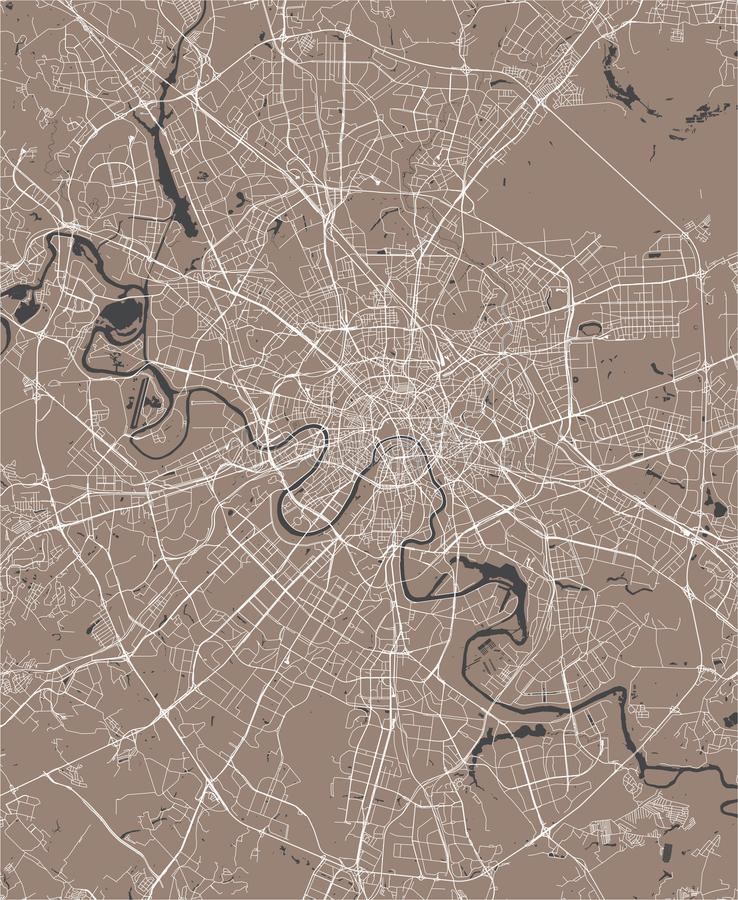 Map of the city of Moscow, Russia royalty free illustration