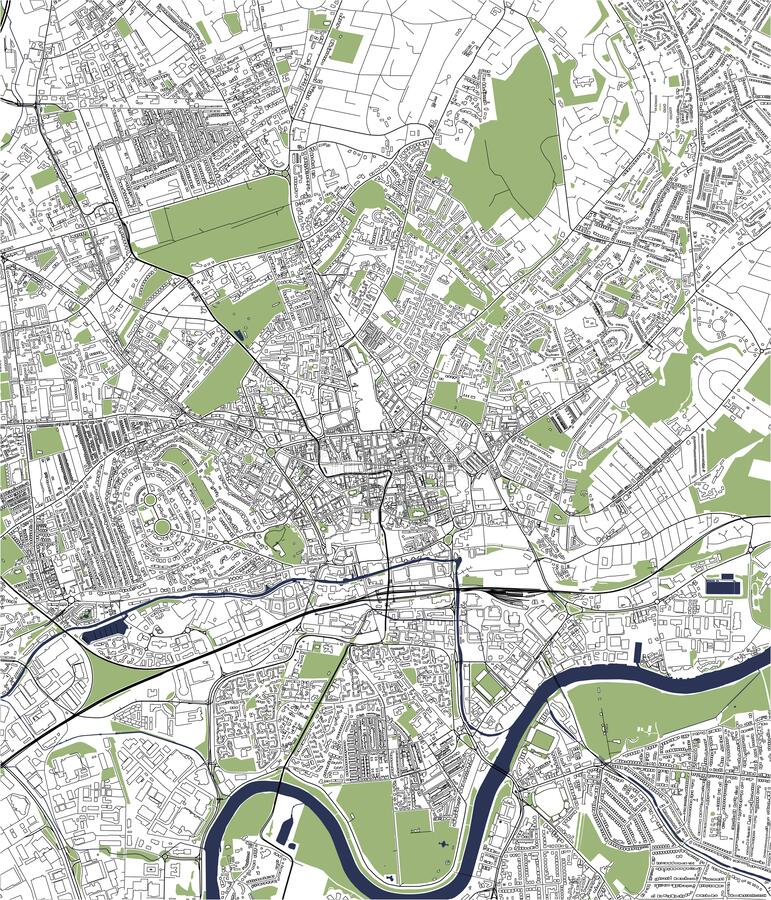 Map of the city of Nottingham, Nottinghamshire, East Midlands, England, UK. Vector map of the city of Nottingham, Nottinghamshire, East Midlands, England, UK royalty free illustration