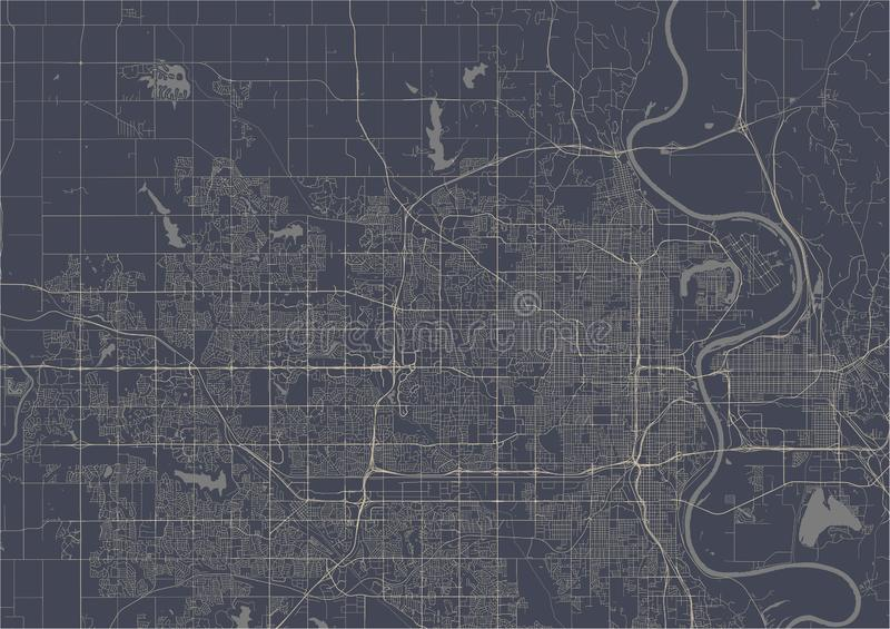 Map of the city of Omaha, USA. Vector map of the city of Omaha,Nebraska, United States America stock illustration
