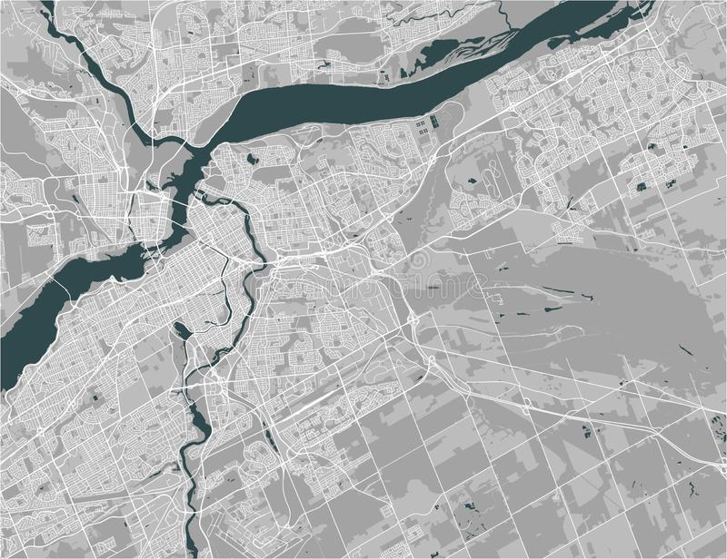 Map of the city of Ottawa, Ontario, Canada. Vector map of the city of Ottawa, Ontario, Canada stock illustration