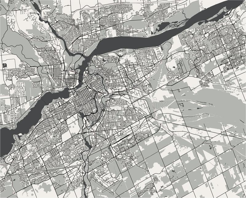 Map of the city of Ottawa, Ontario, Canada royalty free illustration