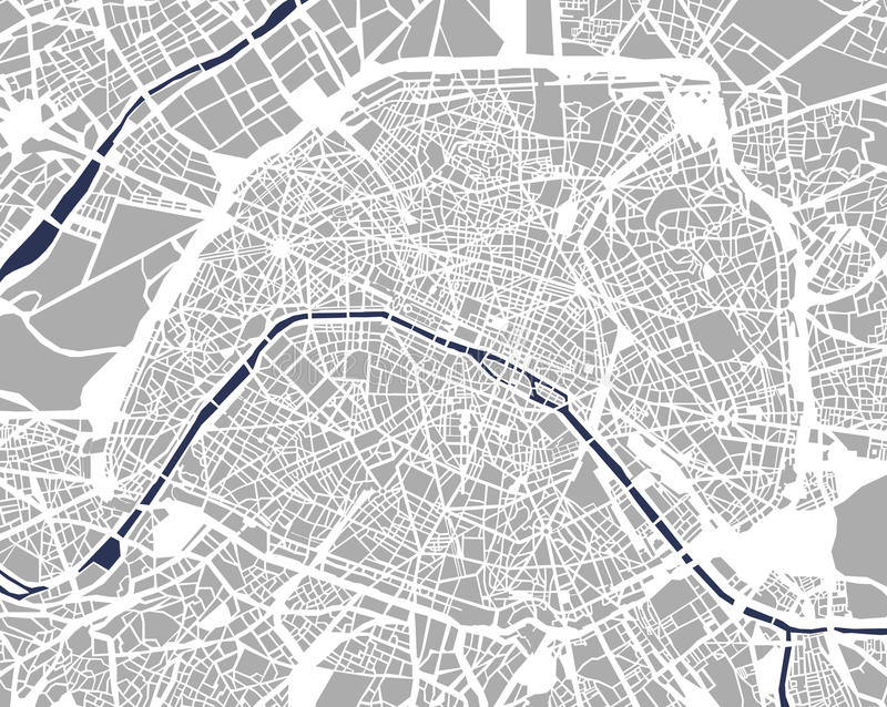 Map of the city of Paris, France stock illustration