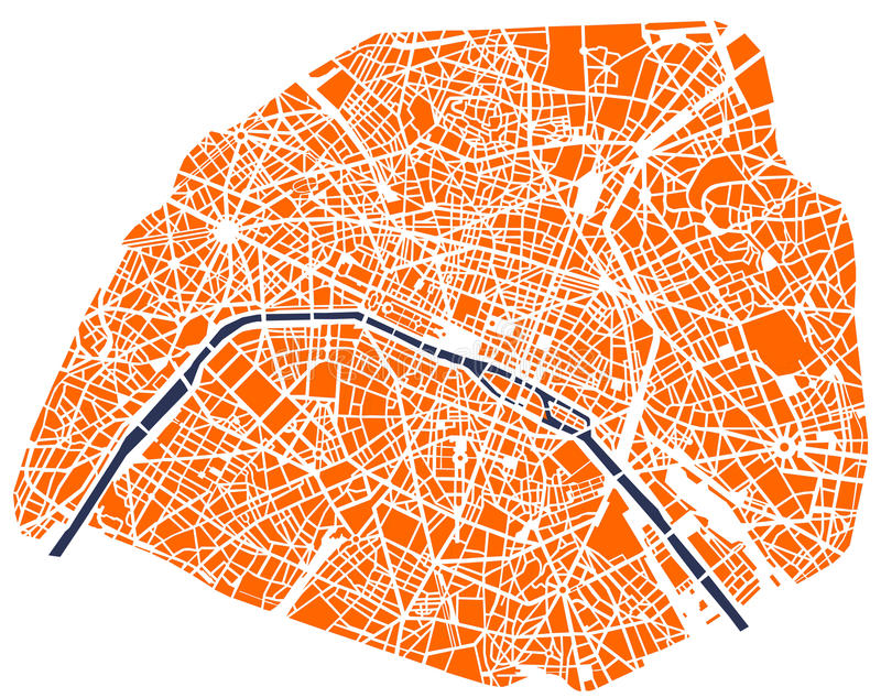 Map of the city of Paris, France royalty free stock photo