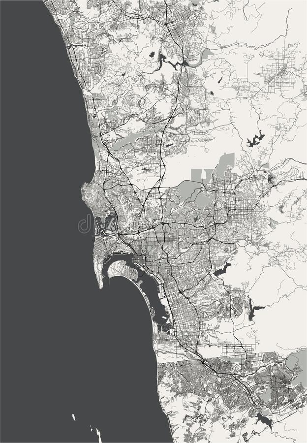 Map Of The City Of San Diego, California, USA Stock ...