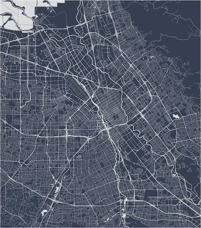 Map of the city of San Jose, California, USA. Vector map of the city of San Jose, California, USA vector illustration