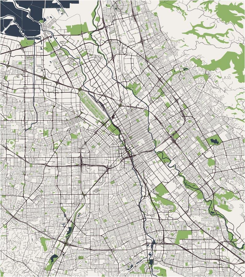Map of the city of San Jose, California, USA. Vector map of the city of San Jose, California, USA stock illustration