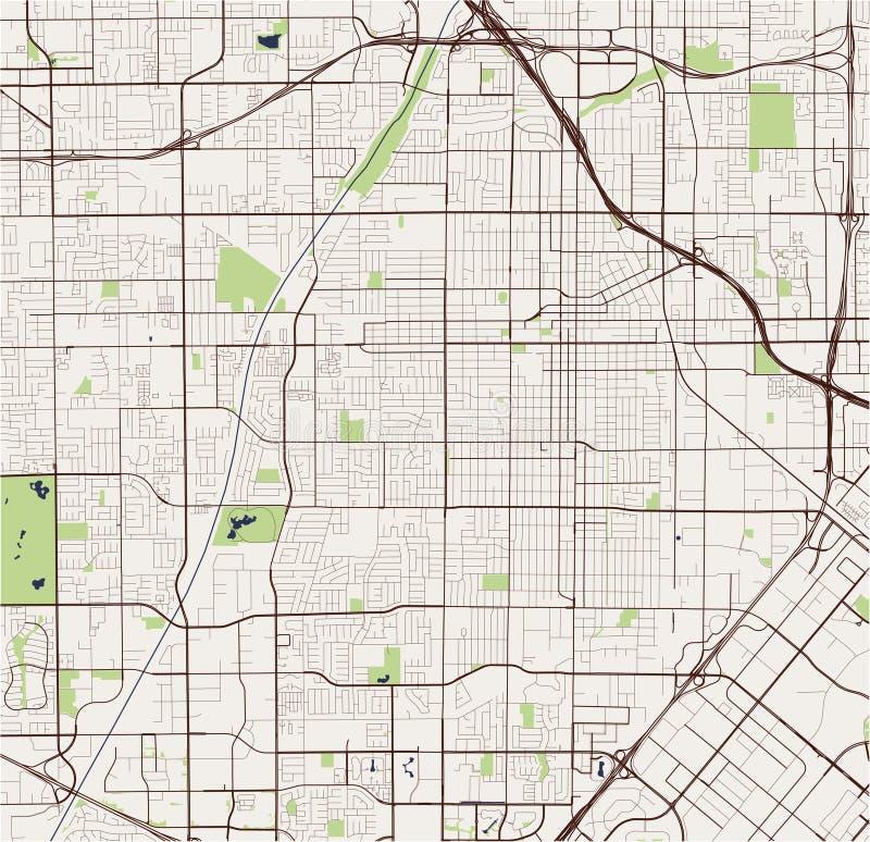 Map of the city of Santa Ana, California, USA. Vector map of the city of Santa Ana, California, United States America royalty free illustration