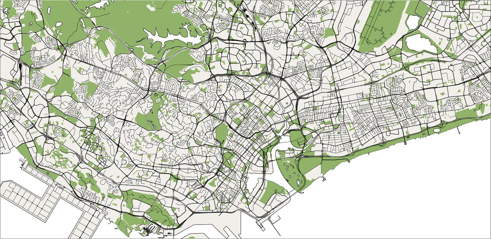 Map of the city of Singapore, Republic of Singapore royalty free stock image