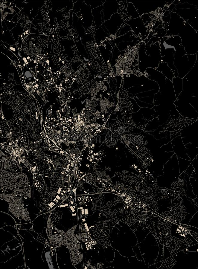 Map of the city of Stoke-on-Trent, Staffordshire, West Midlands, England, UK. Vector map of the city of Stoke-on-Trent, Staffordshire, West Midlands, England, UK vector illustration