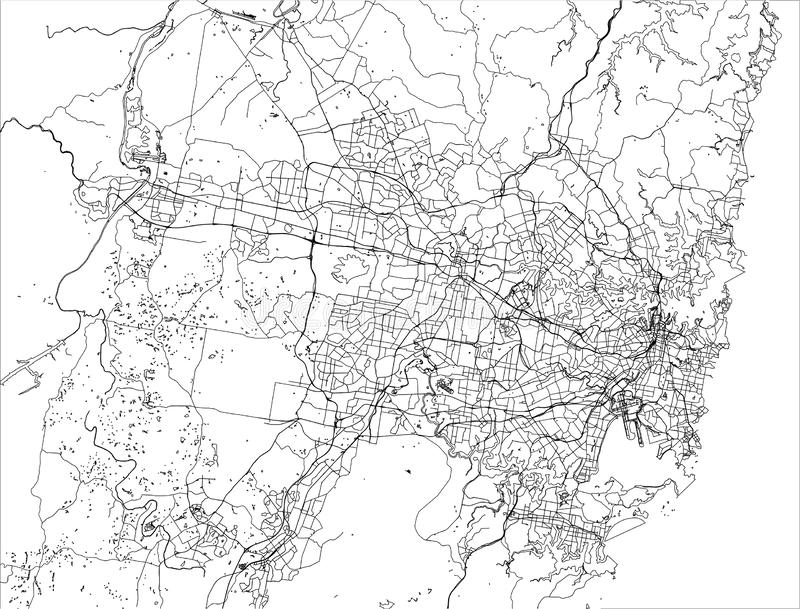 Map of the city of Sydney, New South Wales, Australia stock illustration