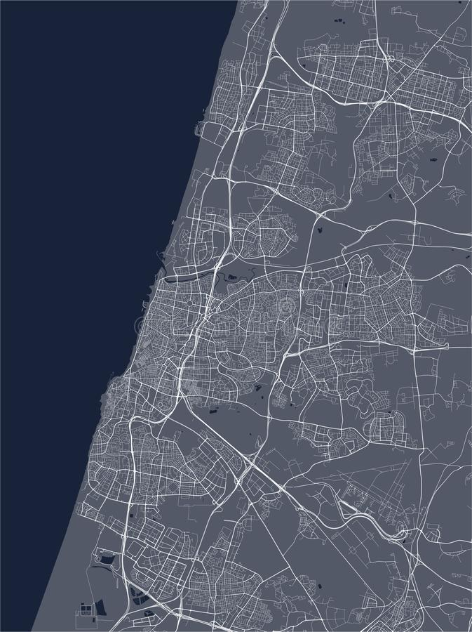 Map of the city of Tel Aviv-Yafo,Tel Aviv-Jaffa, Israel vector illustration