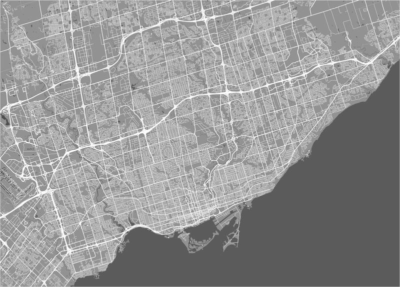 Map of the city of Toronto, Canada. Vector map of the city of Toronto, Canada royalty free illustration