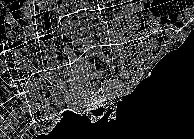 Map of the city of Toronto, Canada vector illustration