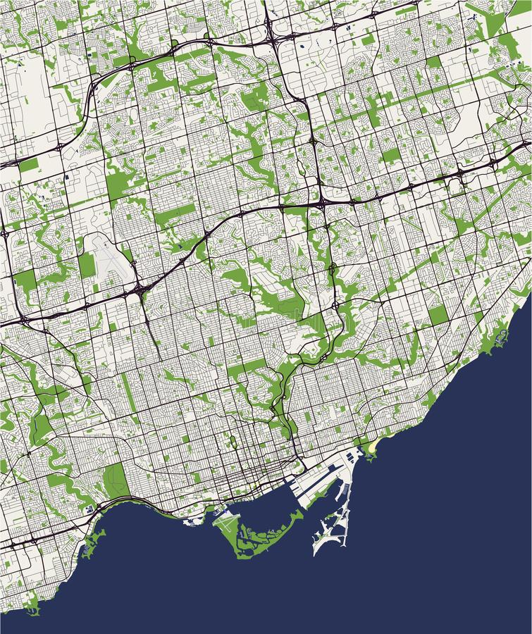Map of the city of Toronto, Canada stock illustration