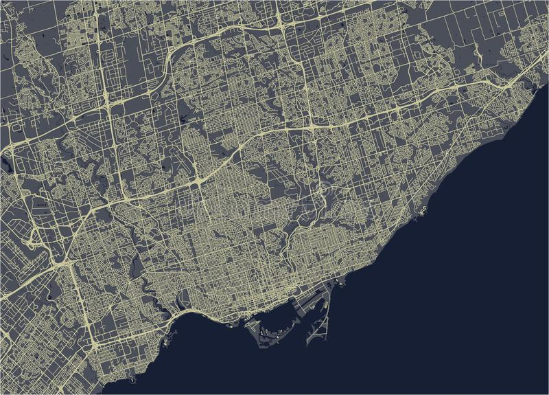 Map of the city of Toronto, Canada. Vector map of the city of Toronto, Canada stock illustration