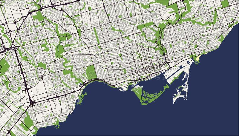 Map of the city of Toronto, Canada royalty free illustration