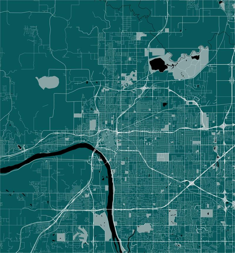Map of the city of Tulsa, Oklahoma, USA. Vector map of the city of Tulsa, Oklahoma, United States America stock illustration