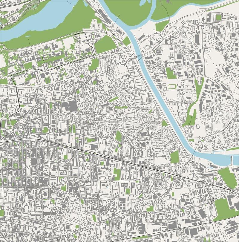 Map of the city of Villeurbanne, Auvergne-Rhone-Alpes , France. Vector map of the city of Villeurbanne, Auvergne-Rhone-Alpes , France stock illustration