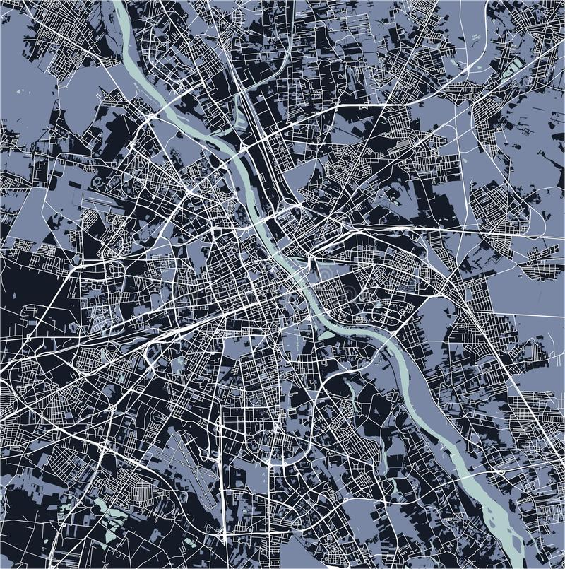Map of the city of Warsaw, Poland stock illustration