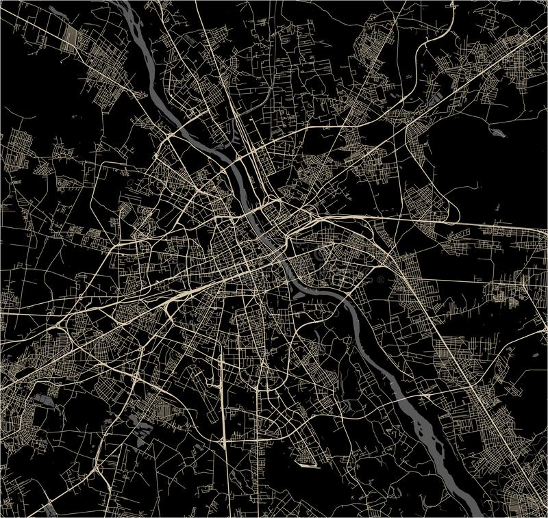 Map of the city of Warsaw, Poland royalty free illustration