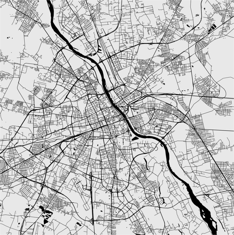 Map of the city of Warsaw, Poland. Vector map of the city of Warsaw, Poland vector illustration