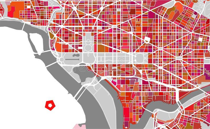 Map of the city of Washington, D.C., USA stock illustration