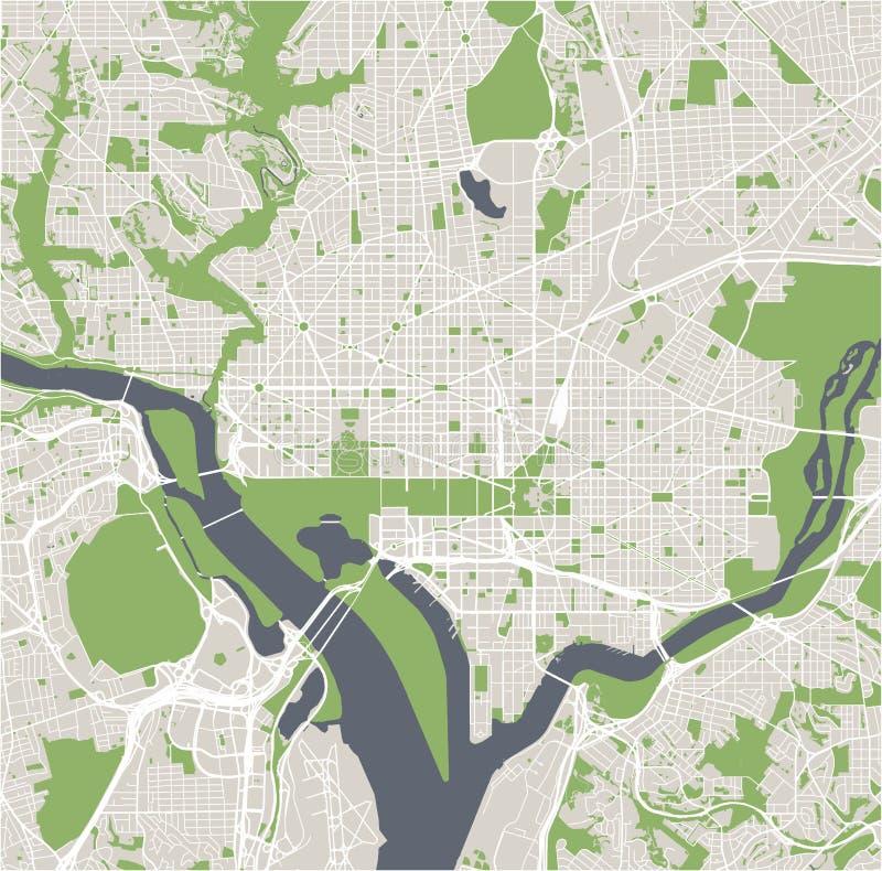 Map of the city of Washington, D.C., USA royalty free illustration