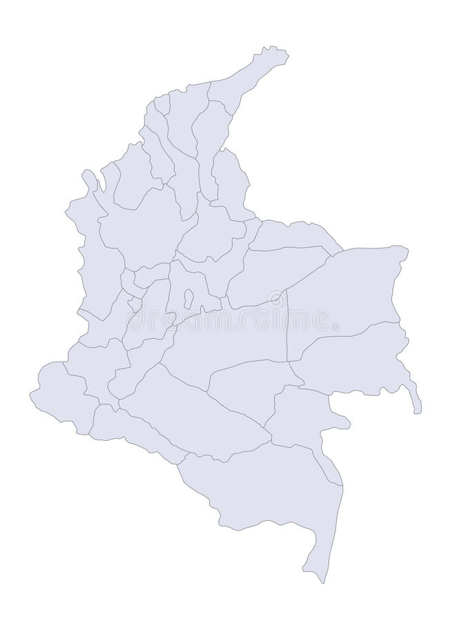 Map Colombia. A stylized map of Colombia showing the different provinces royalty free illustration