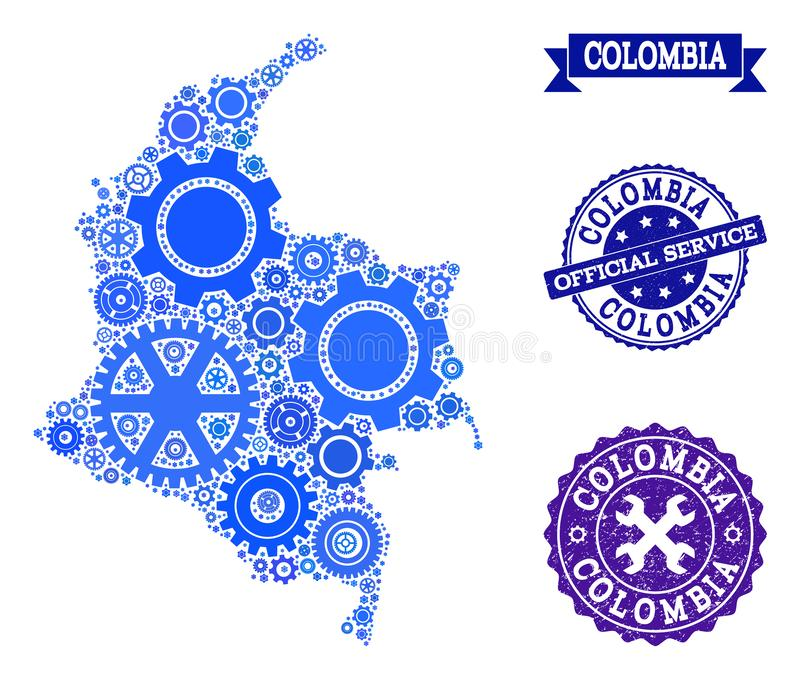 Collage Map of Colombia with Cogs and Grunge Seals for Service vector illustration