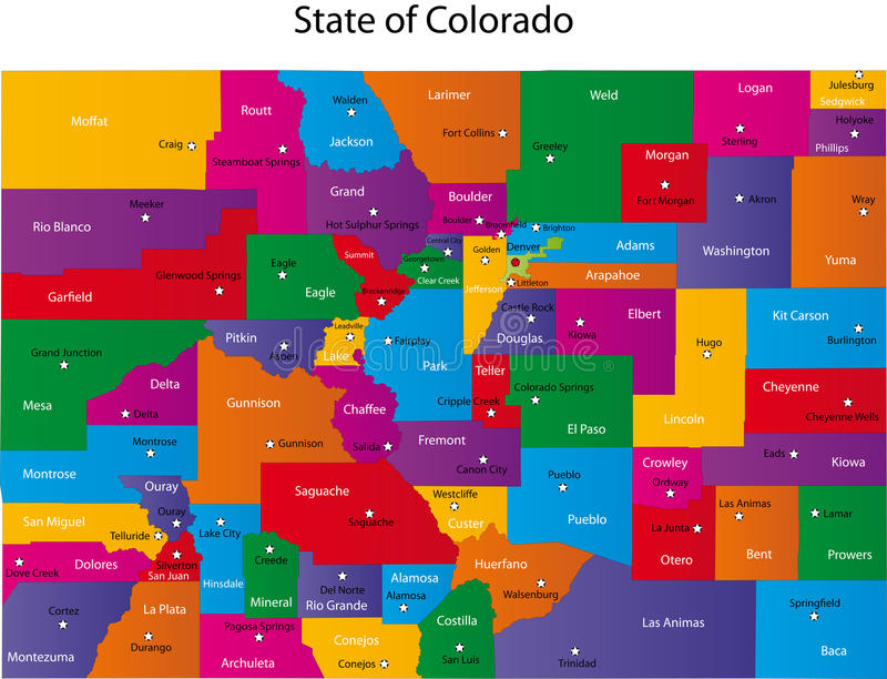 Map of Colorado. State designed in illustration with the counties and the county seats
