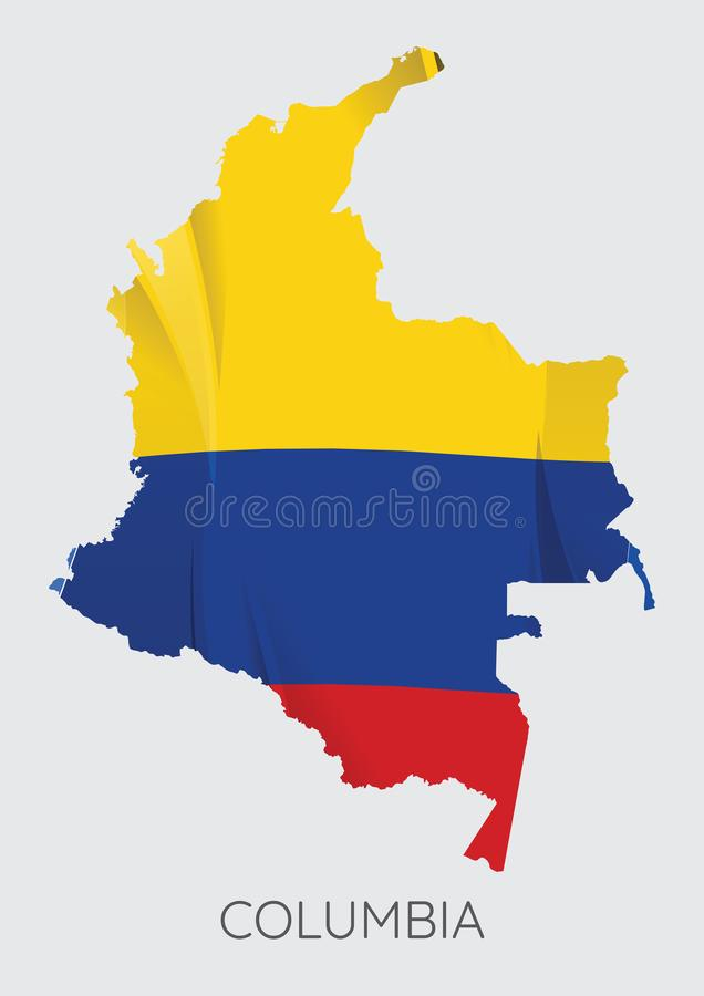 download map of columbia with flag as texture stock vector illustration of flag image