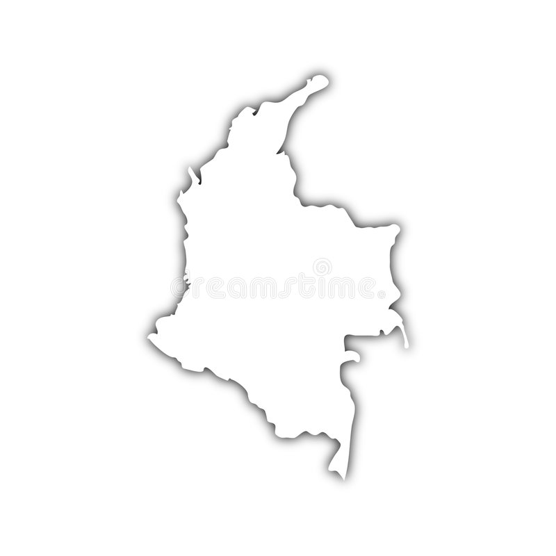 Map of columbia with shadow. White map of columbia on black shadow royalty free illustration