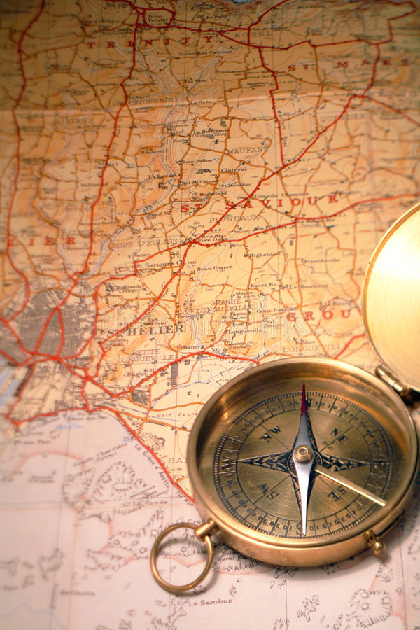 Download Map and compass stock photo. Image of travel, brass, hiking - 2027234