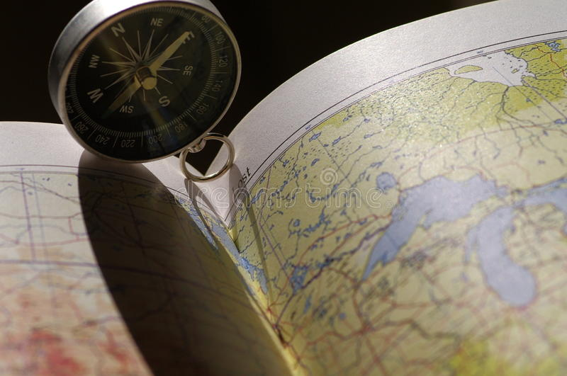 Map and compass royalty free stock photos