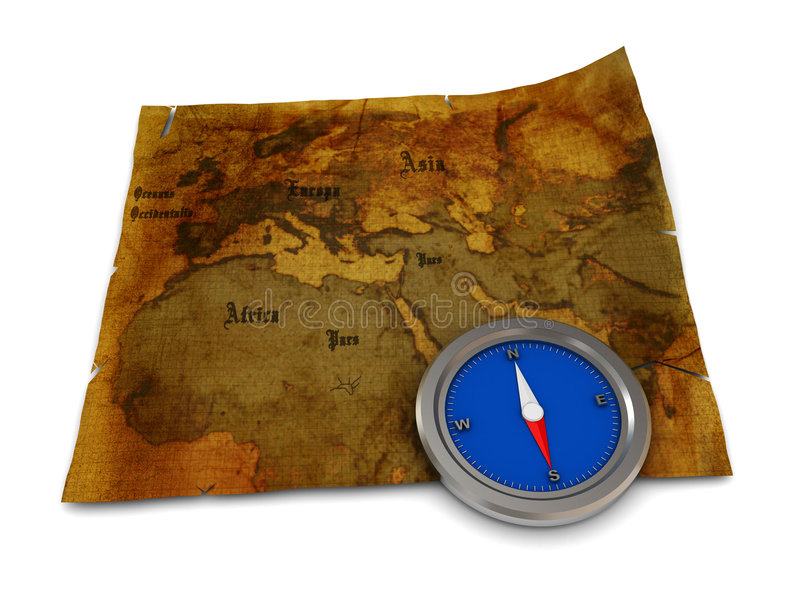 Map and compass vector illustration