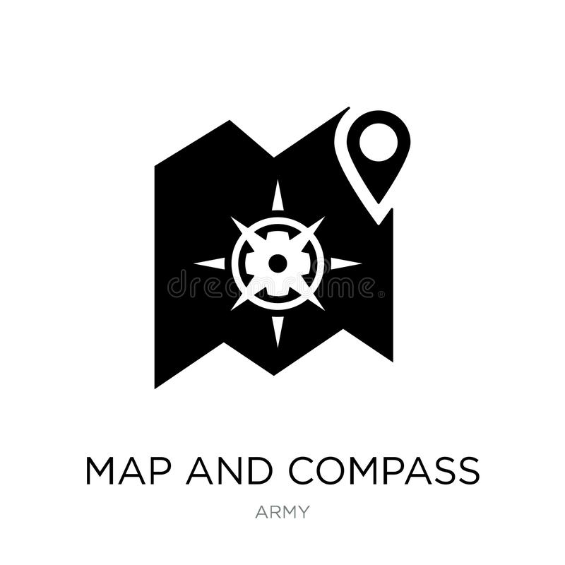 Map and compass icon in trendy design style. map and compass icon isolated on white background. map and compass vector icon simple. And modern flat symbol for royalty free illustration