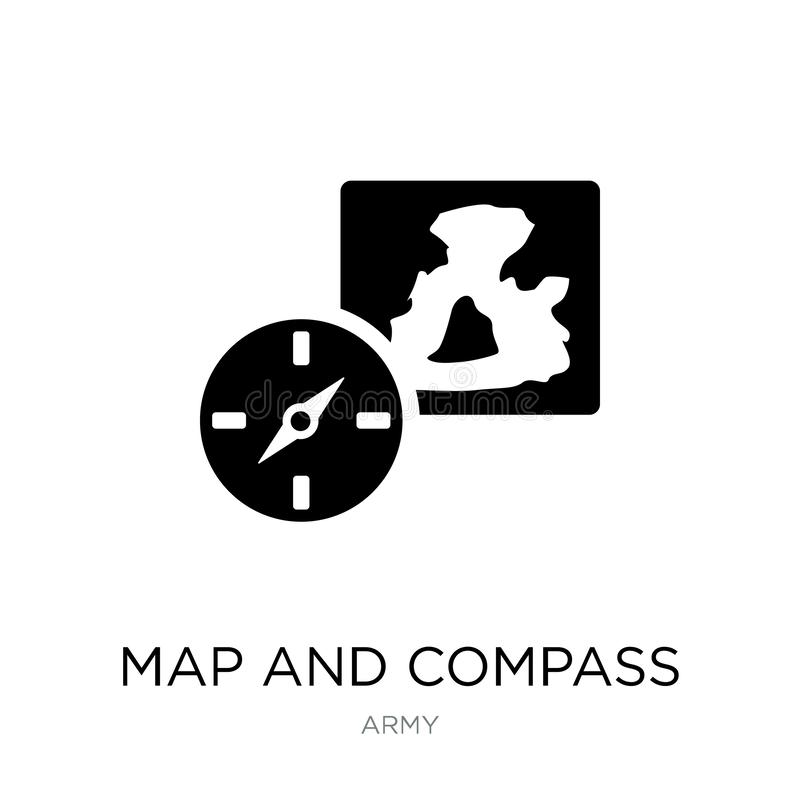 Map and compass orientation tools icon in trendy design style. map and compass orientation tools icon isolated on white background. Map and compass orientation vector illustration