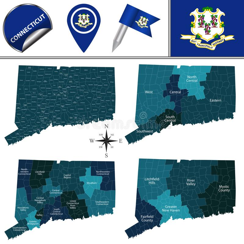 Map of Connecticut with Regions. Vector map of Connecticut with named regions and travel icons royalty free illustration