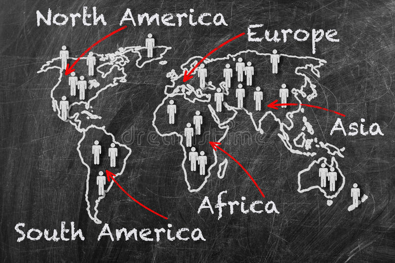 Map of the continents. Concept. World map on a blackboard royalty free stock image