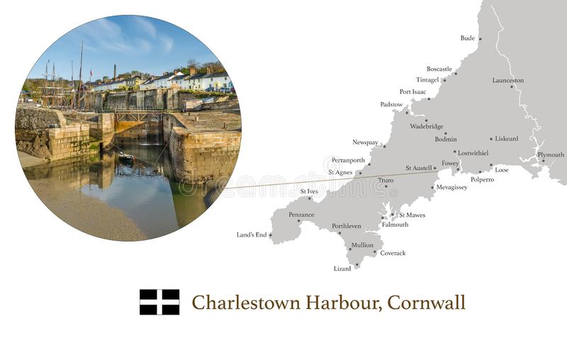 Map of Cornwall, featuring photographic image of Charlestown Harbour, and key towns in Cornwall marked on map. Map of Cornwall, featuring photographic image of stock image