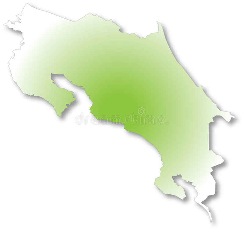 Map of costa rica. Costa rica map drawn on illustrator stock illustration