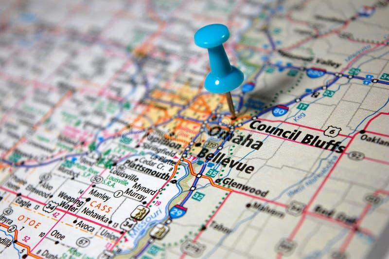 Council Bluffs, Nebraska. A map of Council Bluffs, Nebraska marked with a push pin royalty free stock photo