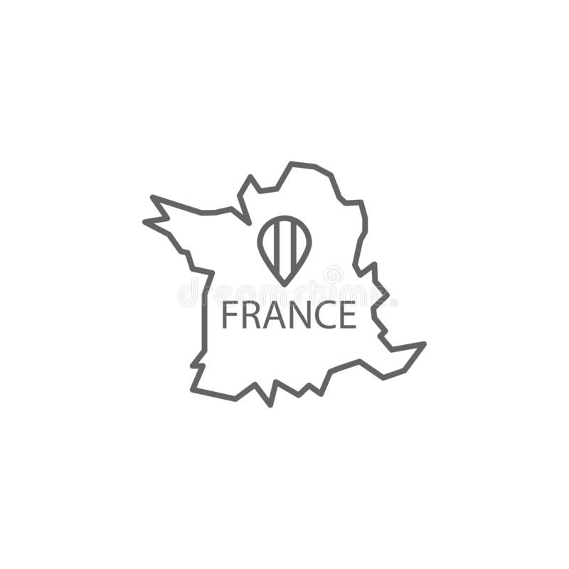 Map, country, France icon. Element of Paris icon. Thin line icon for website design and development, app development. On white background royalty free illustration