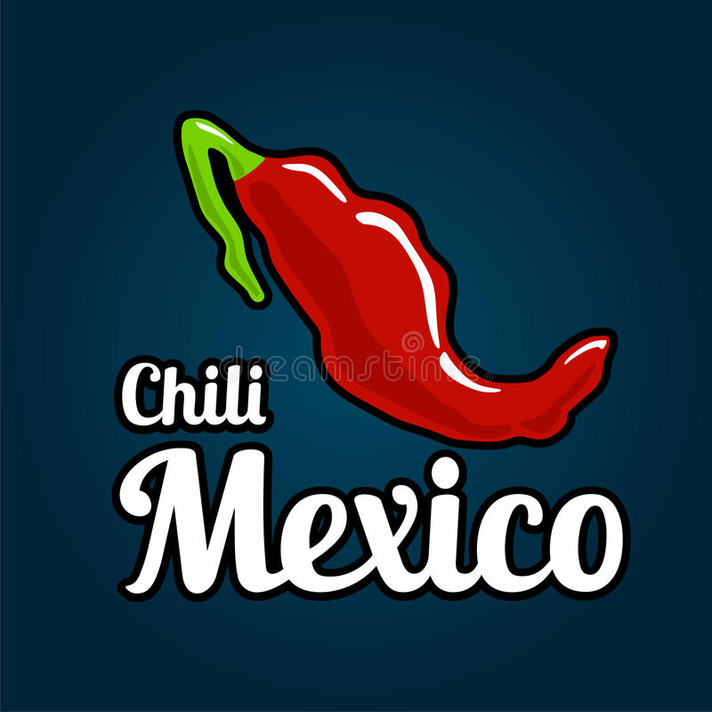 Map of the country of Mexico as chili peppers. Vector Illustration for menus, banner, web design, advertising, logotype royalty free illustration