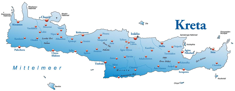 Map of Crete stock illustration Illustration of greek 23877601