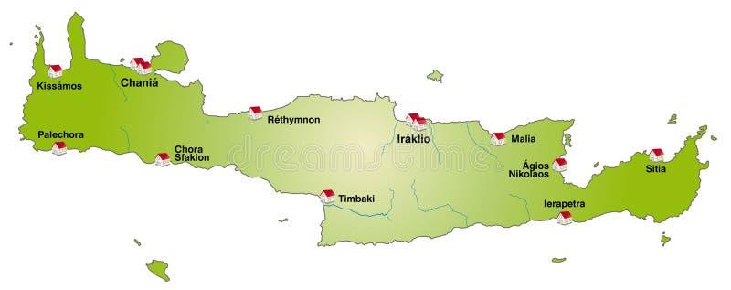 Map of Crete stock illustration Illustration of greek 23877605