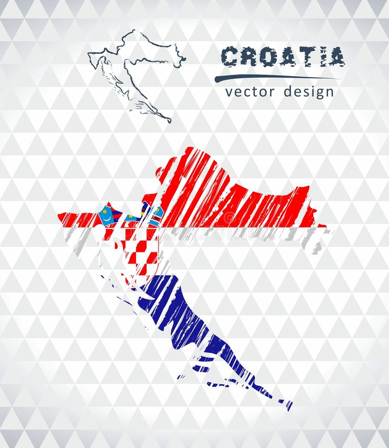 Map of Croatia with hand drawn sketch map inside. Vector illustration royalty free illustration