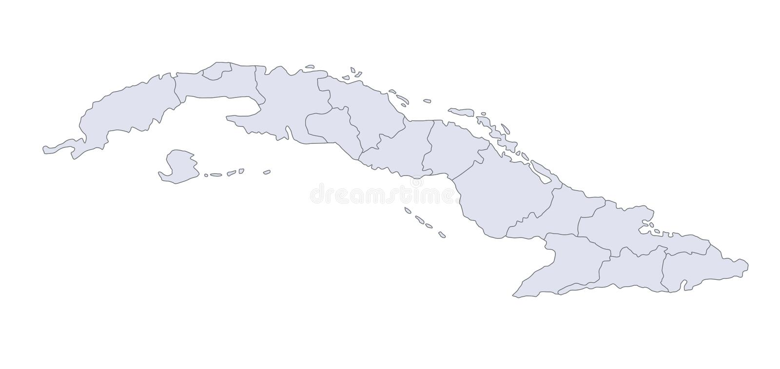 Map Cuba. A stylized map of Cuba showing the different provinces royalty free illustration
