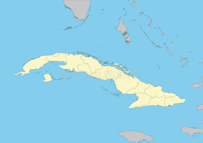 Map of Cuba. High detailed map of Cuba with provinces. File easy to edit and apply. Elements of this image furnished by NASA vector illustration