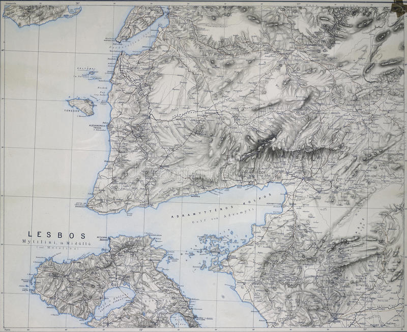 Map Of Dardanelles Troy And Lesbos Stock Illustration